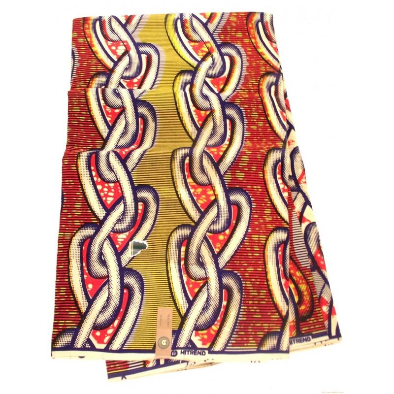 Tissu wax - chaines rouges