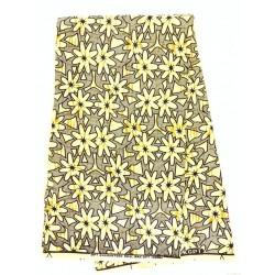 Tissu wax - fleurs beiges